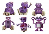 Purple robots in six designs