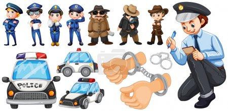 Illustration pour Illustration des policiers et des voitures de police - image libre de droit