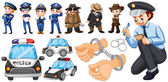 Police officers and police car set illustration