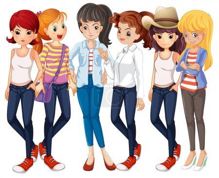 Beautiful women wearing jeans