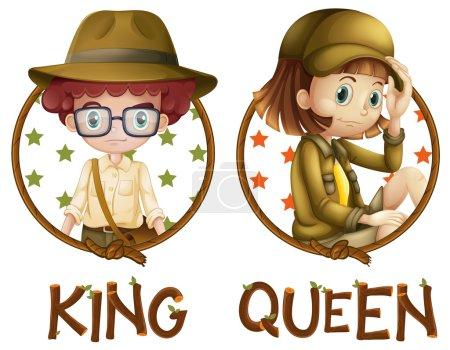 Illustration pour Garçon et fille en safari illustration de tenue - image libre de droit