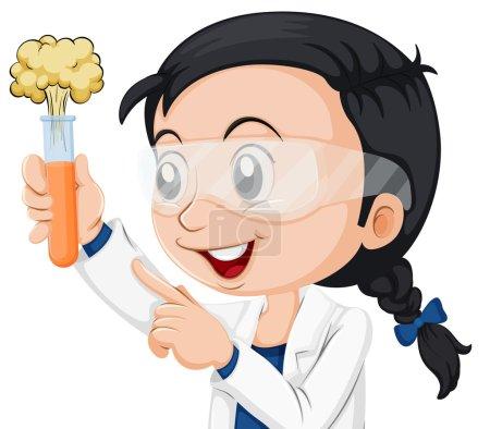 Female scientist holding beaker