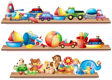 Many toys on wooden shelves