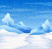 """Постер, картина, фотообои """"Природа сцена со снегом, падающие на землю"""""""