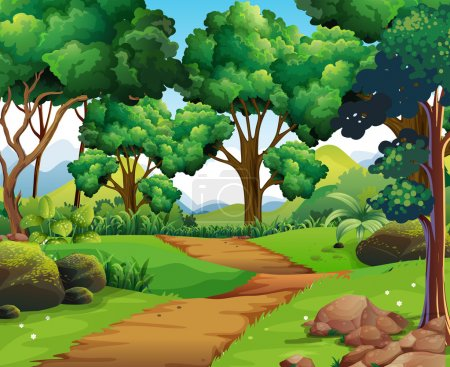 Illustration for Nature scene with hiking track and trees illustration - Royalty Free Image