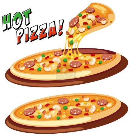 Illustration pour Deux plateaux de pizza italienne illustration - image libre de droit