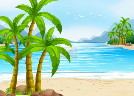 Photo for Summer theme with beach and ocean illustration - Royalty Free Image