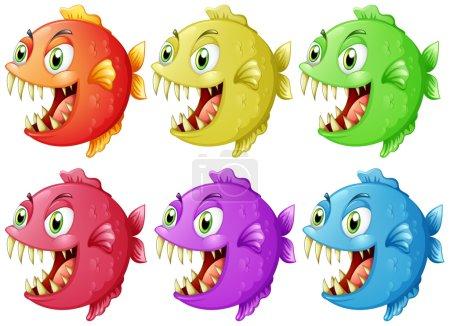 Six fish with sharp teeth