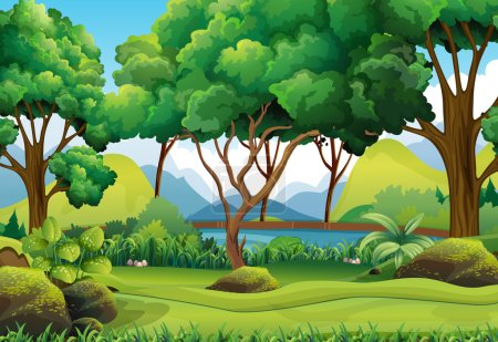 Illustration for Forest scene with river and trees illustration - Royalty Free Image
