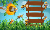 Bee flying and wooden sign in garden illustration