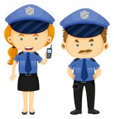 Two police officers in blue uniform illustration