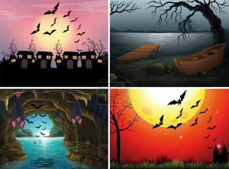 Illustration pour Quatre scènes avec des chauves-souris la nuit illustration - image libre de droit
