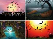 """Постер, картина, фотообои """"Четыре сцены с летучими мышами в ночное время"""""""