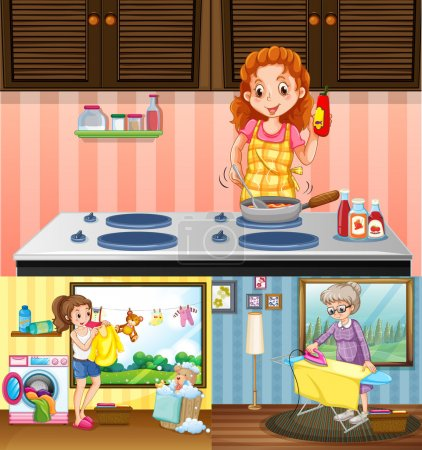 Women doing different chores in the house