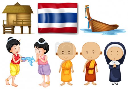 Thai flag and other cultural objects