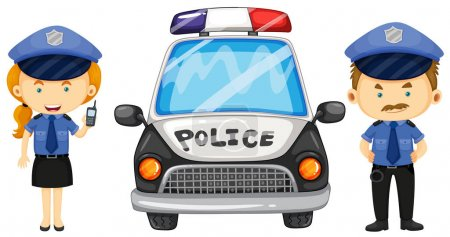 Illustration pour Deux policiers près de la voiture de police illustration - image libre de droit