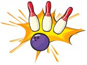 Bowling pins and ball on white background illustration