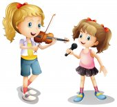 Girl singing and girl playing violin illustration