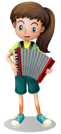 Little girl playing accordion