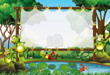 Frame design with frogs in the pond