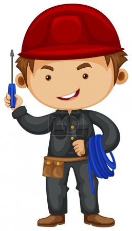 Electrician wearing safety hat