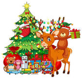 Christmas theme with reindeer and christmas tree illustration