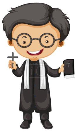 Illustration pour Prêtre tenant bible et croix illustration - image libre de droit