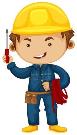 Illustration pour Electricien avec tournevis et illustration de casque - image libre de droit
