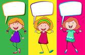 Speech bubble design with three girls