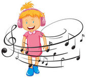 Happy girl listen to music by headphone illustration