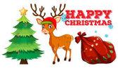 Christmas theme with reindeer and christmas tree illustration