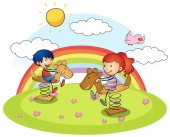 Boy and girl on rocking horse
