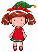 Christmas theme with doll wearing red and green illustration