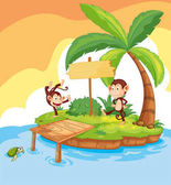 Two monkeys on island
