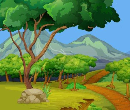 Illustration pour Scène avec sentier de randonnée dans les bois illustration - image libre de droit