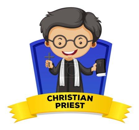 Illustration pour Design d'étiquette avec illustration de prêtre chrétien - image libre de droit