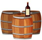 Wine bottle on wooden barrels