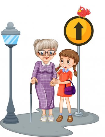 Grandmother and kid crossing the street