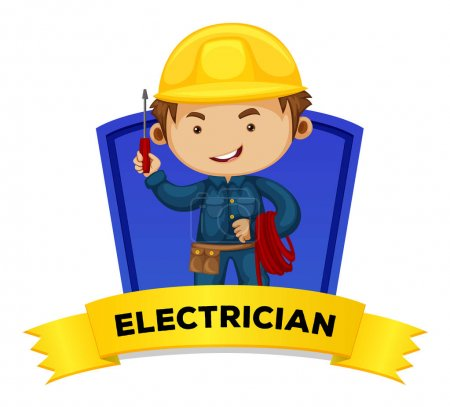 Occupation wordcard with word electrician