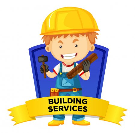 Occupation wordcard with building services