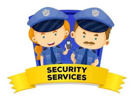 Illustration pour Job wordcard avec deux services de sécurité illustration - image libre de droit