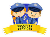 Job wordcard with two security services illustration