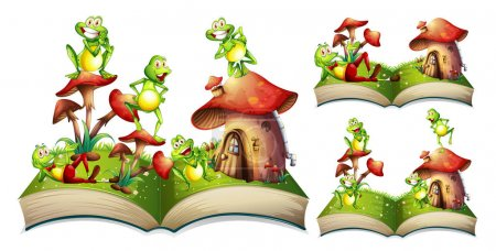 Illustration for Happy frogs on storybook illustration - Royalty Free Image