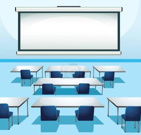 Illustration pour Scène de classe avec panneau d'écran et illustration de chaises - image libre de droit