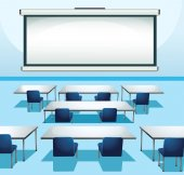 Classroom scene with screenboard and chairs