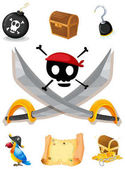 Pirate elements with weapons and map