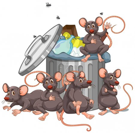 Five rats sitting by the rubbish bin