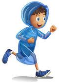 Boy in raincoat running illustration