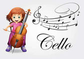 Girl playing cello with music notes background illustration