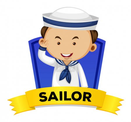Occupation wordcard with sailor